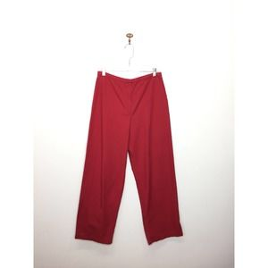 Eileen Fisher Red High Rise Wide Leg Pants Medium